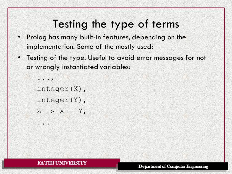 FATIH UNIVERSITY Department of Computer Engineering Database manipulation E.g.