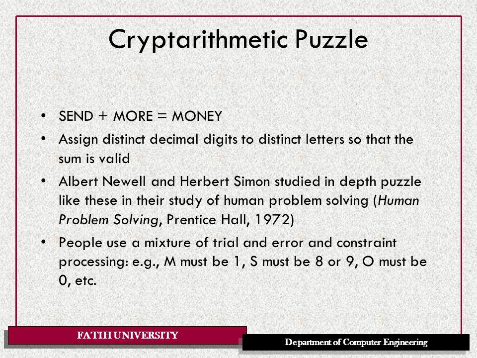 FATIH UNIVERSITY Department of Computer Engineering Cryptarithmetic Puzzle II sum( N1,N2,N) if N is N1+N2 Numbers are represented by lists of digits: the query is: ?-sum( [S,E,N,D],[M,O,R,E],[M,O,N,E,Y]).