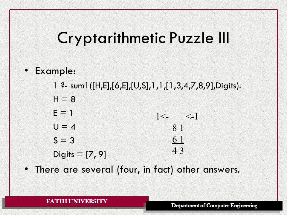 FATIH UNIVERSITY Department of Computer Engineering Cryptarithmetic Puzzle IV We start off with all digits available, we do not want any carries at the end, and we do not care about which digits are left unused: sum(N1,N2,N) :- sum1(N1,N2,N,0,0,[0,1,2,3,4,5,6,7,8,9],_).