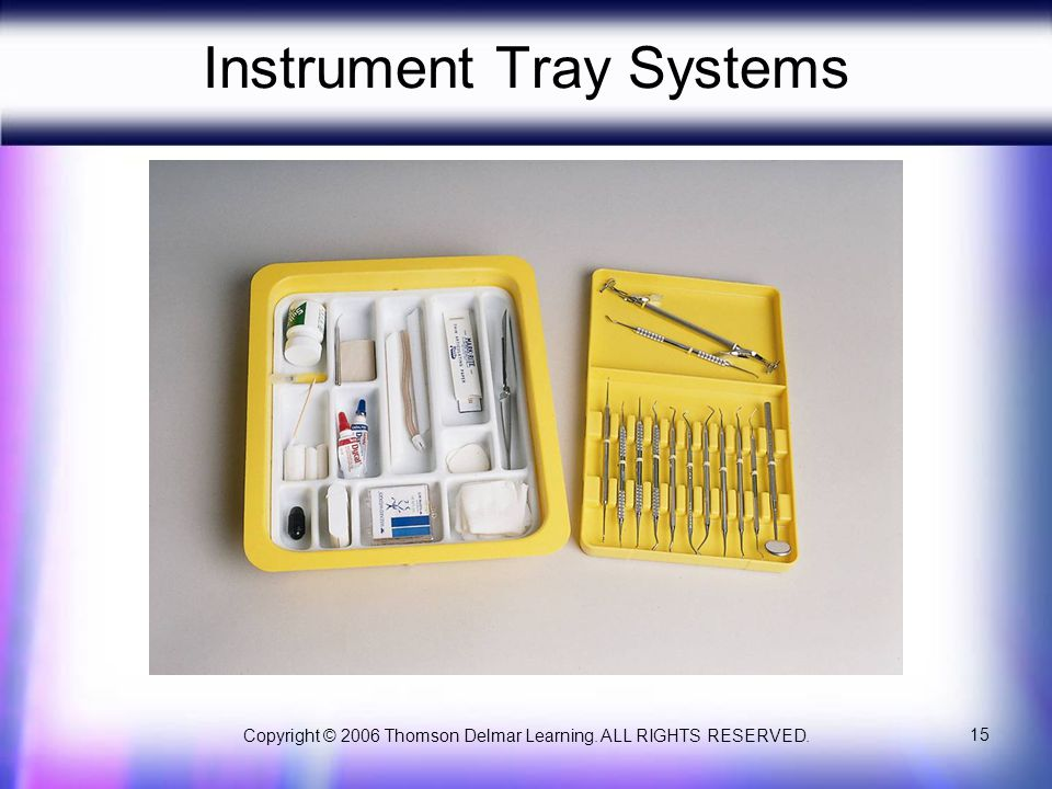 Copyright © 2006 Thomson Delmar Learning. ALL RIGHTS RESERVED. 15 Instrument Tray Systems