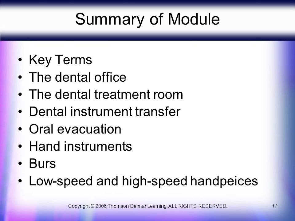 Copyright © 2006 Thomson Delmar Learning. ALL RIGHTS RESERVED. 17 Summary of Module Key Terms The dental office The dental treatment room Dental instr