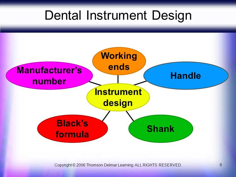 Copyright © 2006 Thomson Delmar Learning. ALL RIGHTS RESERVED. 8 Dental Instrument Design Manufacturer's number Black's formula Shank Handle Working e