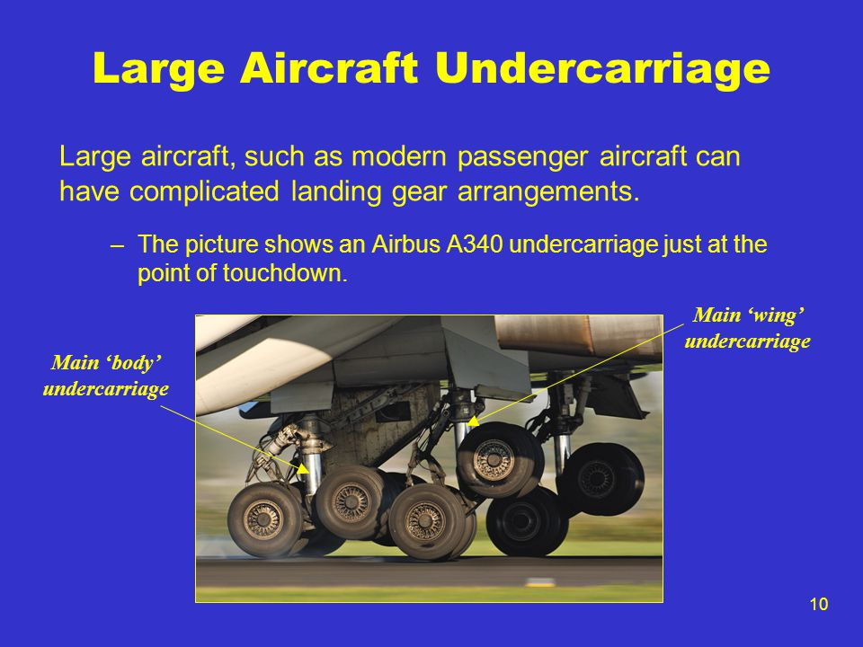 10 Large Aircraft Undercarriage Large aircraft, such as modern passenger aircraft can have complicated landing gear arrangements. –The picture shows a