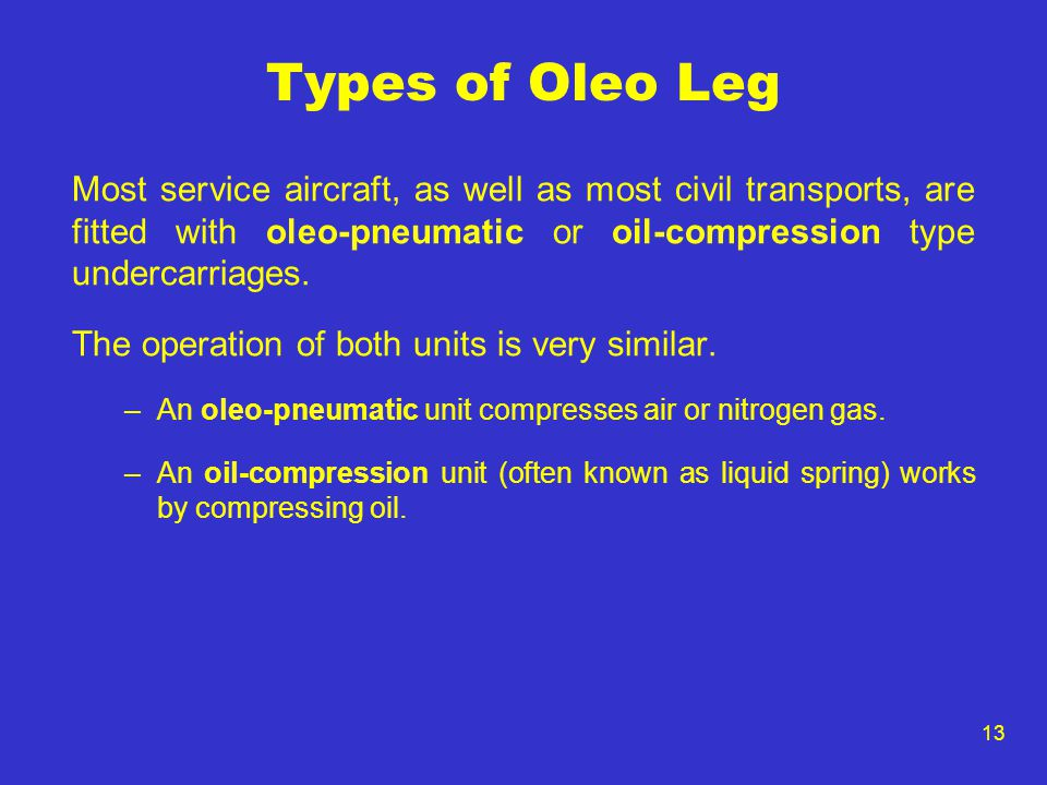 13 Types of Oleo Leg Most service aircraft, as well as most civil transports, are fitted with oleo-pneumatic or oil-compression type undercarriages. T