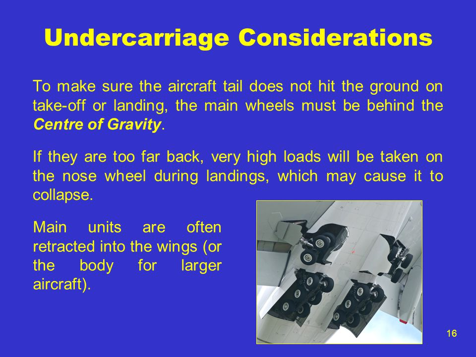 16 Undercarriage Considerations To make sure the aircraft tail does not hit the ground on take-off or landing, the main wheels must be behind the Centre of Gravity.