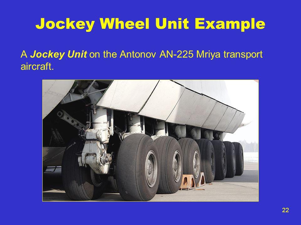 22 Jockey Wheel Unit Example A Jockey Unit on the Antonov AN-225 Mriya transport aircraft.