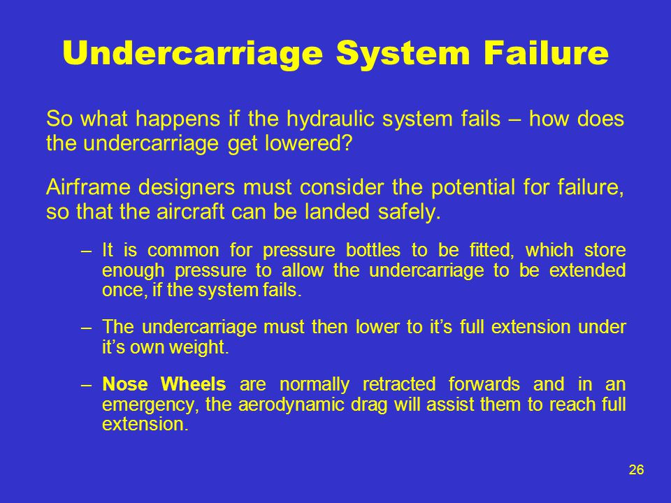 26 Undercarriage System Failure So what happens if the hydraulic system fails – how does the undercarriage get lowered? Airframe designers must consid