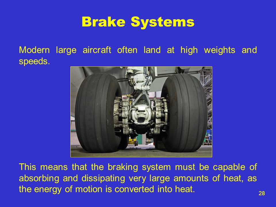 28 Brake Systems Modern large aircraft often land at high weights and speeds. This means that the braking system must be capable of absorbing and diss