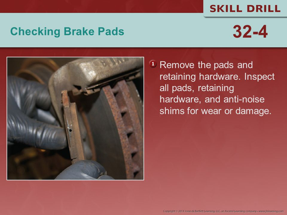 Checking Brake Pads Remove the pads and retaining hardware. Inspect all pads, retaining hardware, and anti-noise shims for wear or damage. 32-4