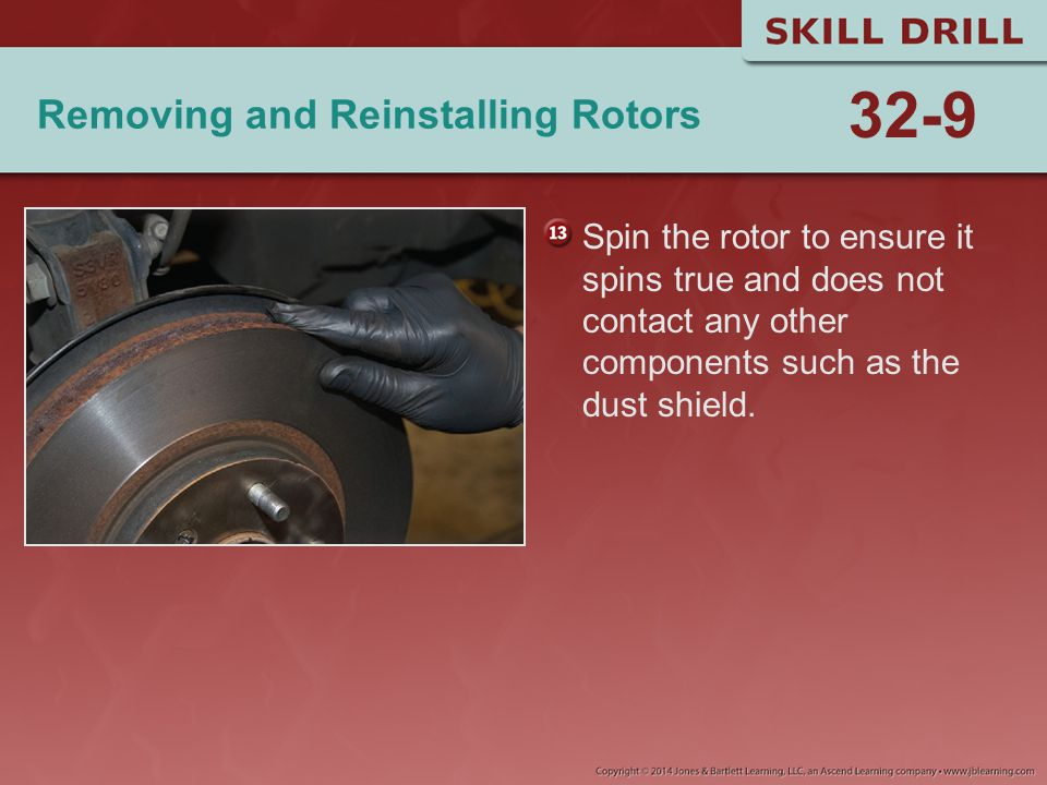 Removing and Reinstalling Rotors Spin the rotor to ensure it spins true and does not contact any other components such as the dust shield. 32-9