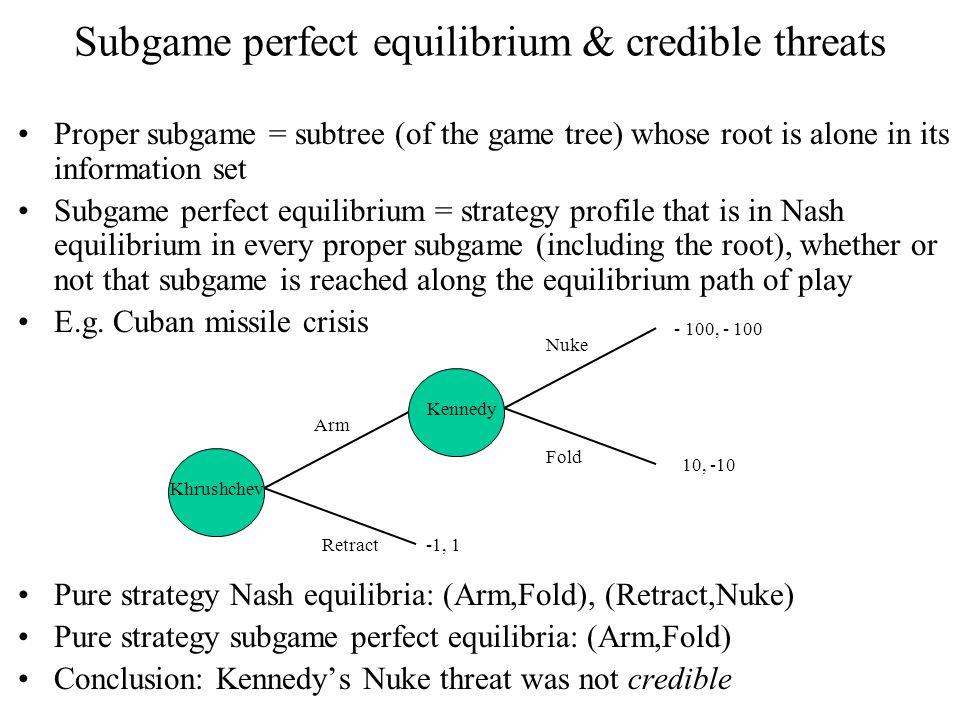 Subgame perfect equilibrium & credible threats Proper subgame = subtree (of the game tree) whose root is alone in its information set Subgame perfect equilibrium = strategy profile that is in Nash equilibrium in every proper subgame (including the root), whether or not that subgame is reached along the equilibrium path of play E.g.