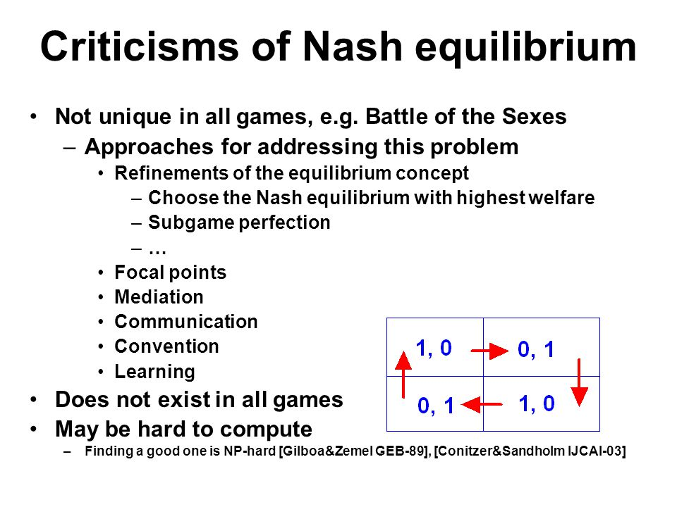 Criticisms of Nash equilibrium Not unique in all games, e.g.