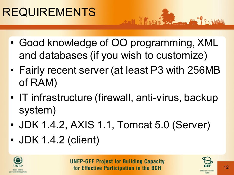 12 REQUIREMENTS Good knowledge of OO programming, XML and databases (if you wish to customize) Fairly recent server (at least P3 with 256MB of RAM) IT