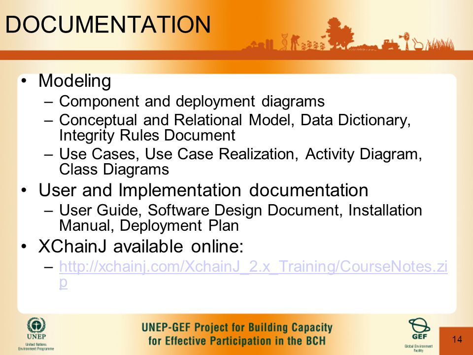 14 DOCUMENTATION Modeling –Component and deployment diagrams –Conceptual and Relational Model, Data Dictionary, Integrity Rules Document –Use Cases, U