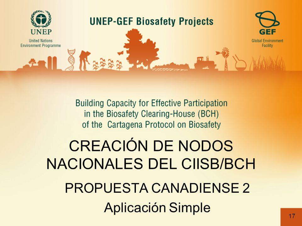 17 CREACIÓN DE NODOS NACIONALES DEL CIISB/BCH PROPUESTA CANADIENSE 2 Aplicación Simple