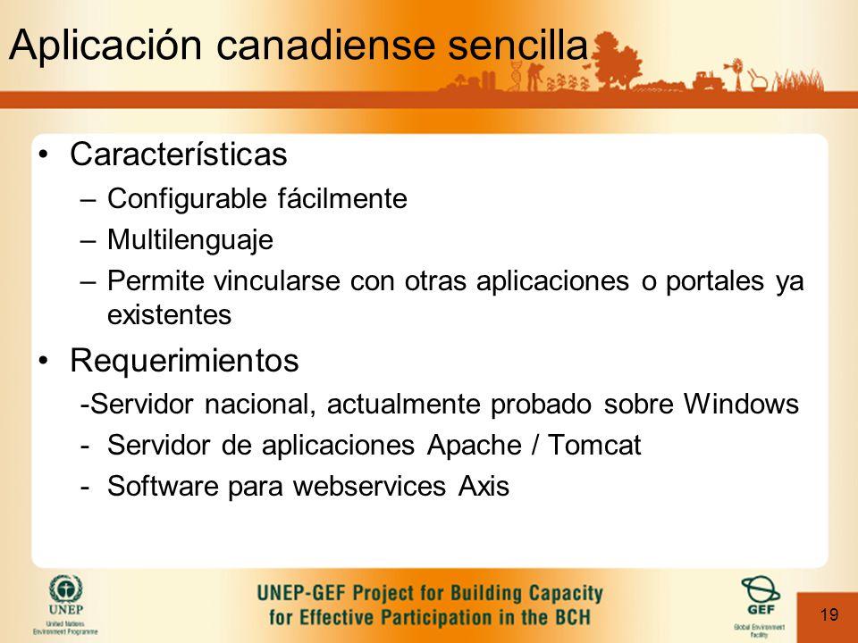 19 Aplicación canadiense sencilla Características –Configurable fácilmente –Multilenguaje –Permite vincularse con otras aplicaciones o portales ya existentes Requerimientos -Servidor nacional, actualmente probado sobre Windows -Servidor de aplicaciones Apache / Tomcat -Software para webservices Axis