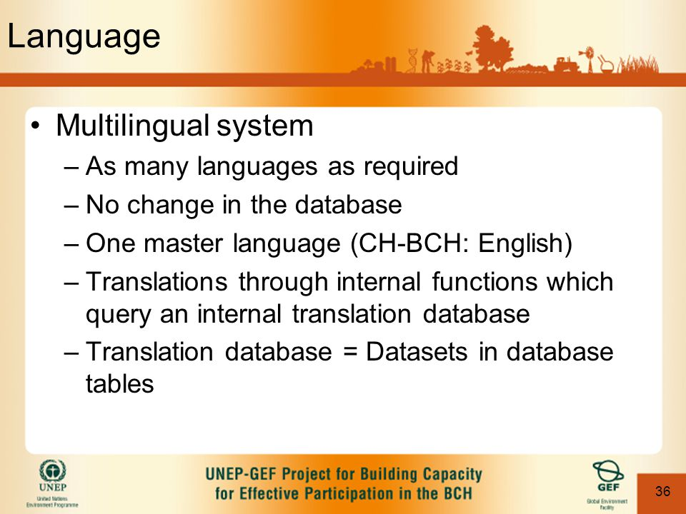 36 Language Multilingual system –As many languages as required –No change in the database –One master language (CH-BCH: English) –Translations through