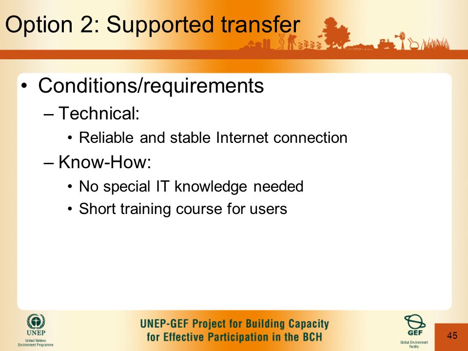 45 Option 2: Supported transfer Conditions/requirements –Technical: Reliable and stable Internet connection –Know-How: No special IT knowledge needed