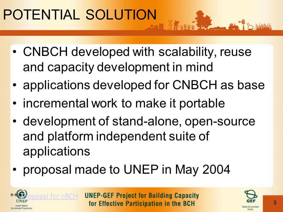 5 POTENTIAL SOLUTION CNBCH developed with scalability, reuse and capacity development in mind applications developed for CNBCH as base incremental wor