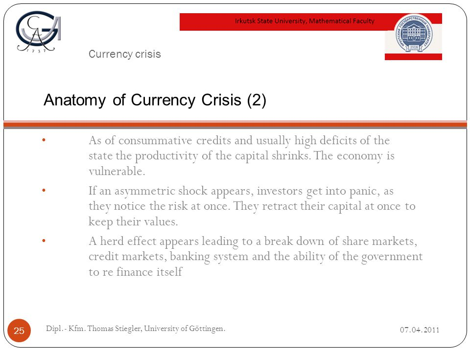 Currency crisis As of consummative credits and usually high deficits of the state the productivity of the capital shrinks.
