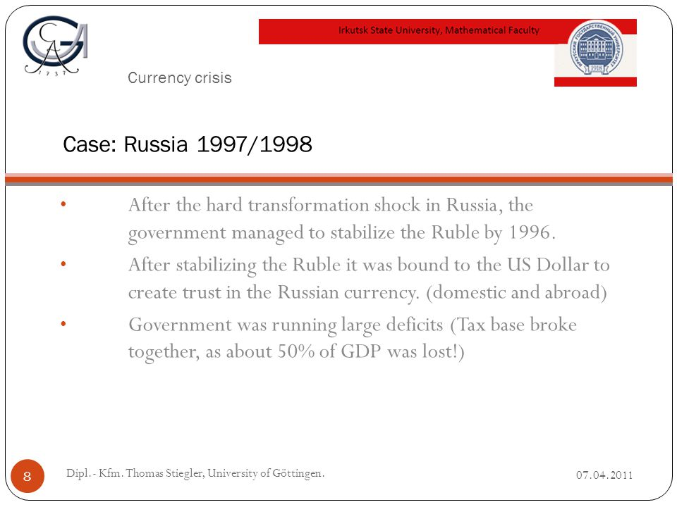 Currency crisis After the hard transformation shock in Russia, the government managed to stabilize the Ruble by 1996.