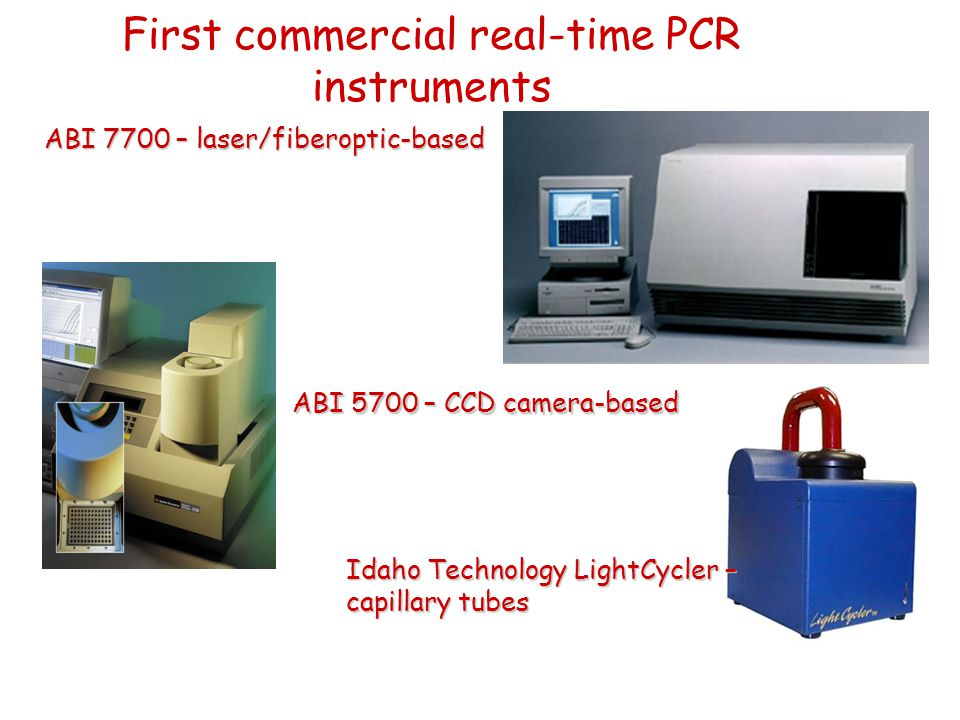 First commercial real-time PCR instruments ABI 7700 – laser/fiberoptic-based ABI 5700 – CCD camera-based Idaho Technology LightCycler – capillary tube