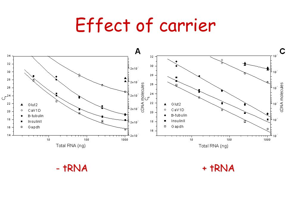 Effect of carrier + tRNA - tRNA