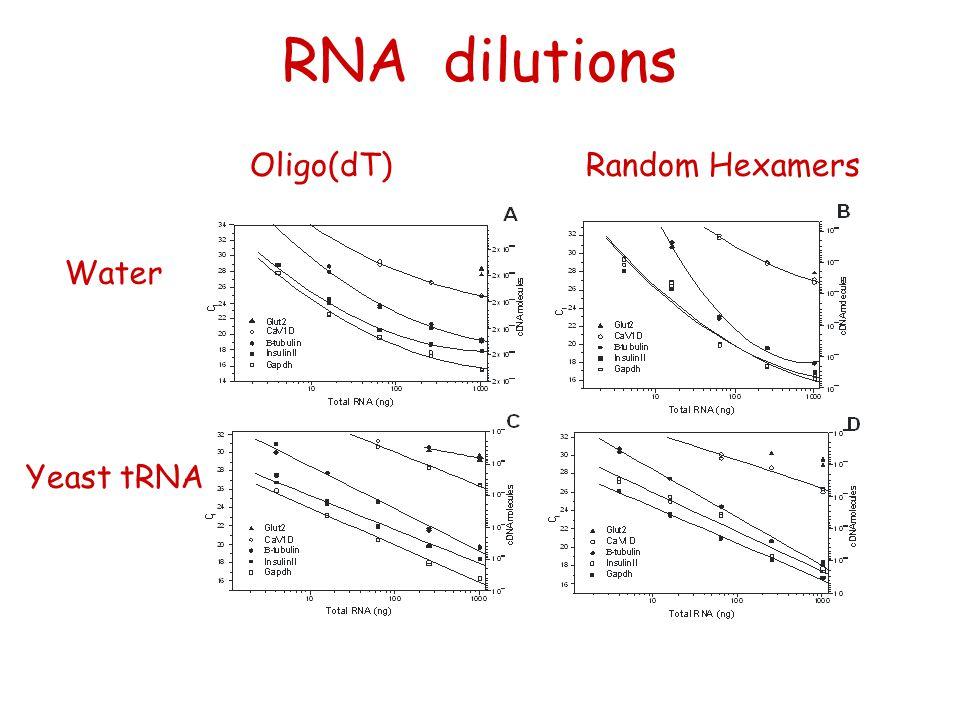 RNA dilutions Water Yeast tRNA Oligo(dT)Random Hexamers