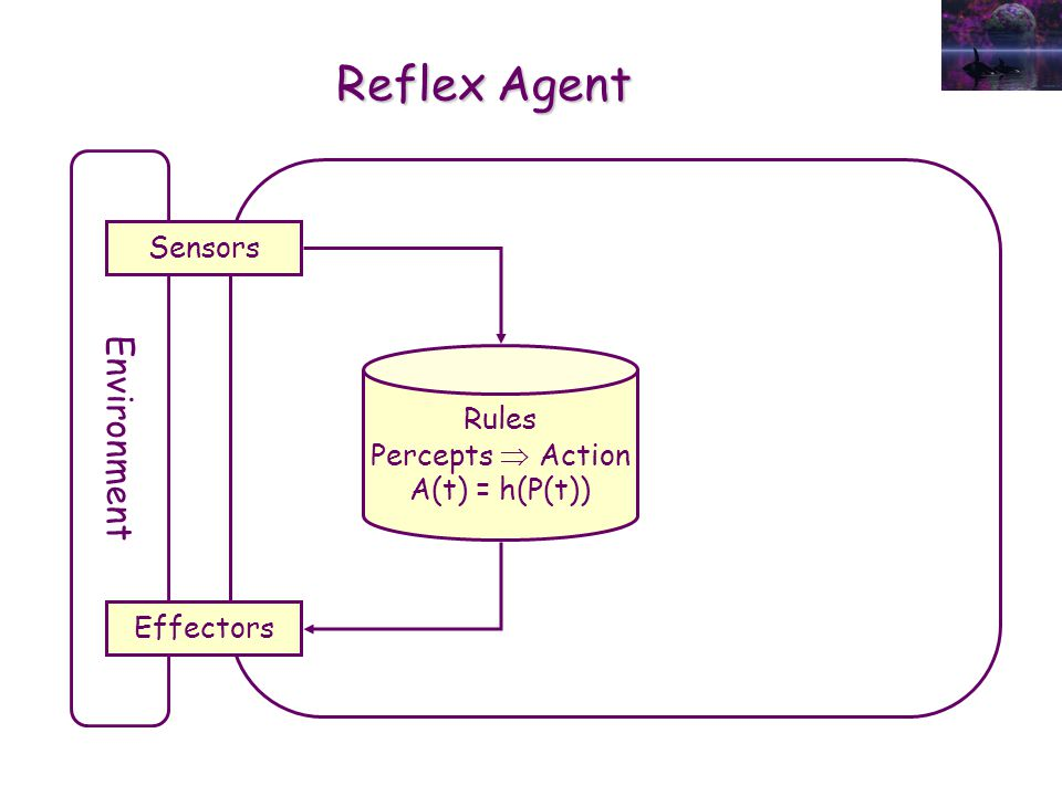 Reflex Agent Environment Sensors Effectors Rules Percepts  Action A(t) = h(P(t))