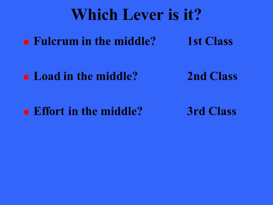 Which Lever is it? Fulcrum in the middle?1st Class Load in the middle?2nd Class Effort in the middle?3rd Class
