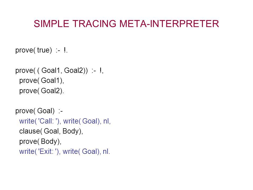 SIMPLE TRACING META-INTERPRETER prove( true) :- !.