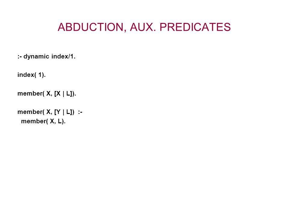 ABDUCTION, AUX. PREDICATES :- dynamic index/1. index( 1).