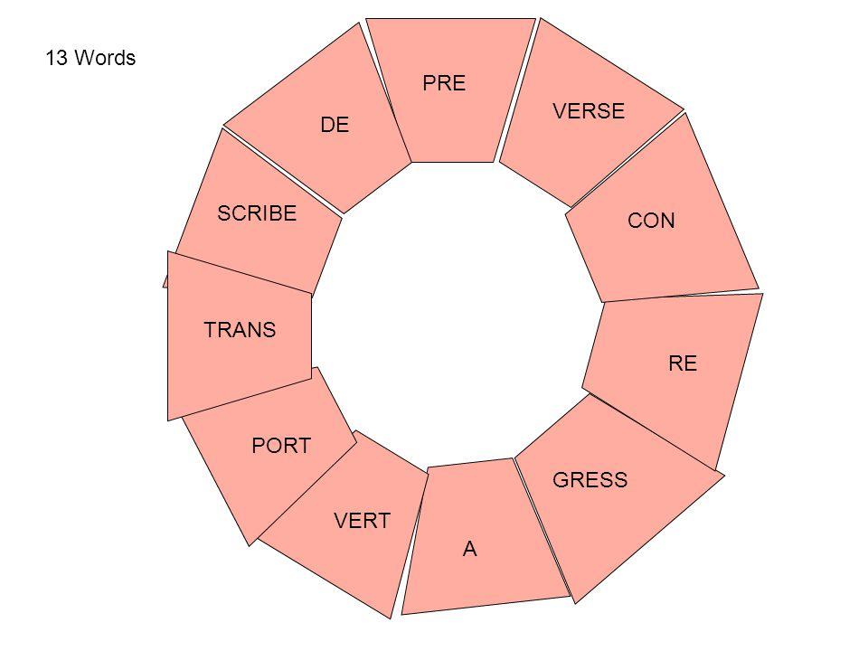 PORT RE GRESS PRE VERT SCRIBE TRANS A DE VERSE CON 13 Words