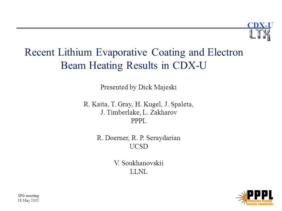 SFG meeting 18 May 2005 CDX-U Electron beam evaporation run from 5/04 Third 240 sec.