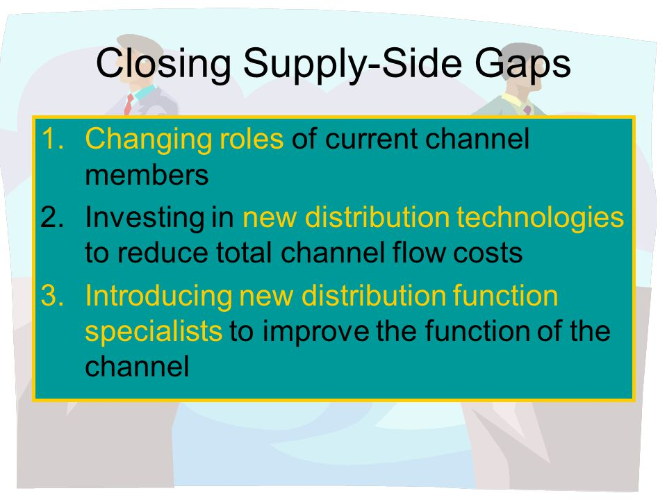 Closing Supply-Side Gaps 1.Changing roles of current channel members 2.Investing in new distribution technologies to reduce total channel flow costs 3.Introducing new distribution function specialists to improve the function of the channel