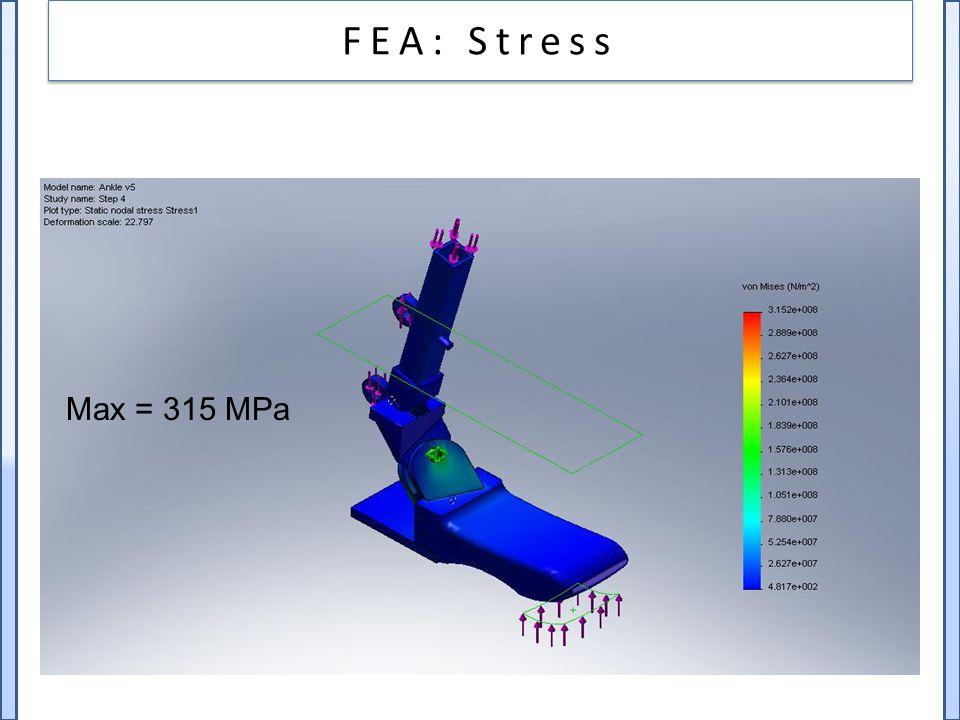 Max = 315 MPa FEA: Stress