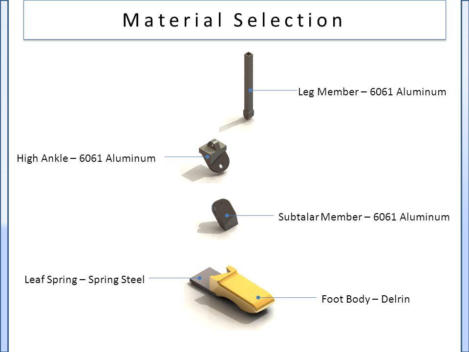 Material Selection Foot Body – Delrin Leaf Spring – Spring Steel Subtalar Member – 6061 Aluminum Leg Member – 6061 Aluminum High Ankle – 6061 Aluminum