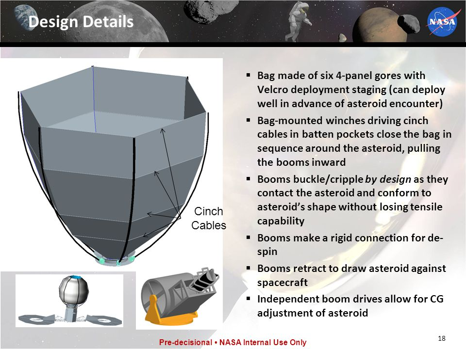 18 Pre-decisional NASA Internal Use Only Design Details  Bag made of six 4-panel gores with Velcro deployment staging (can deploy well in advance of