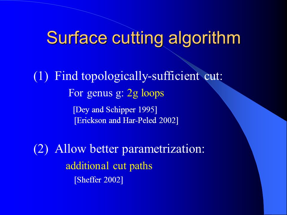 Surface cutting algorithm (1) Find topologically-sufficient cut: For genus g: 2g loops [Dey and Schipper 1995] [Erickson and Har-Peled 2002] (2) Allow better parametrization: additional cut paths [Sheffer 2002]