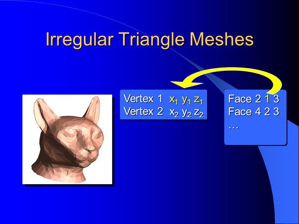 Irregular Triangle Meshes Vertex 1 x 1 y 1 z 1 Vertex 2 x 2 y 2 z 2 Vertex 1 x 1 y 1 z 1 Vertex 2 x 2 y 2 z 2 Face 2 1 3 Face 4 2 3 … Face 2 1 3 Face 4 2 3 …