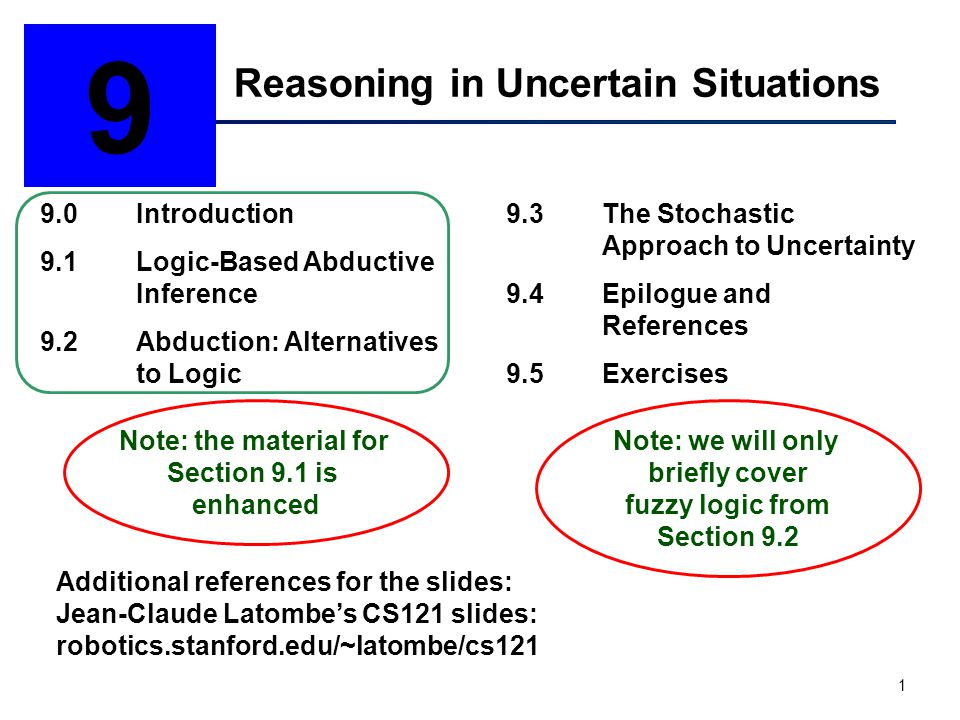 1 Reasoning in Uncertain Situations 9 9.0Introduction 9.1Logic-Based Abductive Inference 9.2Abduction: Alternatives to Logic 9.3The Stochastic Approach to Uncertainty 9.4Epilogue and References 9.5Exercises Note: the material for Section 9.1 is enhanced Additional references for the slides: Jean-Claude Latombe's CS121 slides: robotics.stanford.edu/~latombe/cs121 Note: we will only briefly cover fuzzy logic from Section 9.2