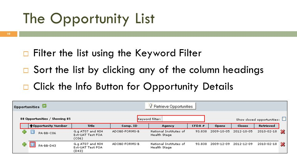The Opportunity List  Filter the list using the Keyword Filter  Sort the list by clicking any of the column headings  Click the Info Button for Opportunity Details 10