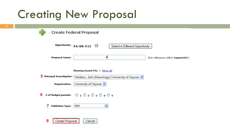 Creating New Proposal 17