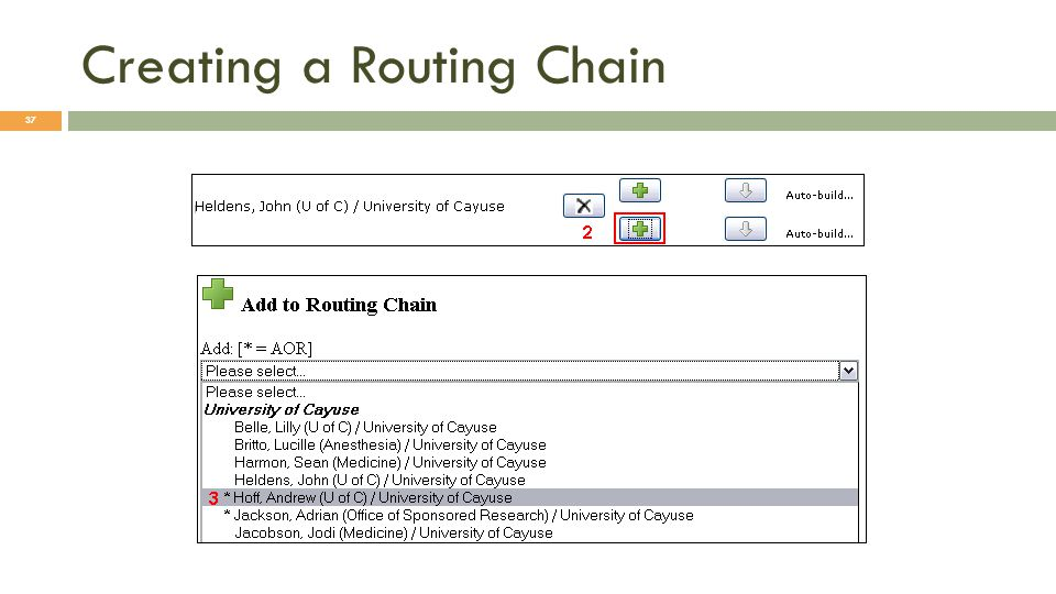 Creating a Routing Chain 37