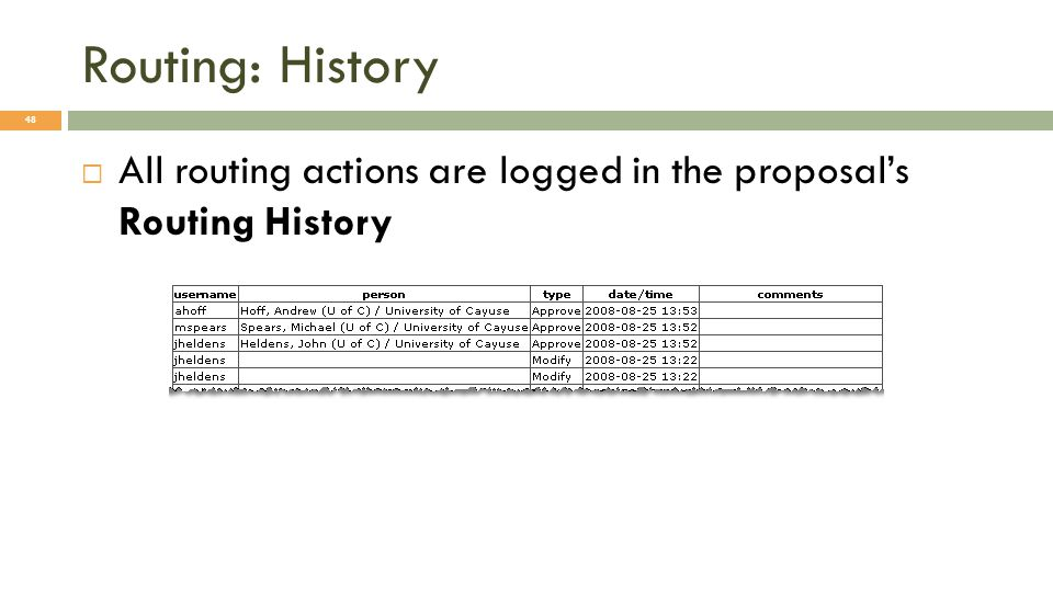 Routing: History 48  All routing actions are logged in the proposal's Routing History
