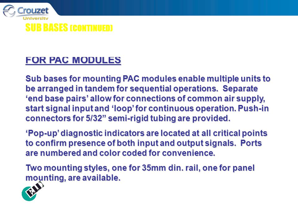 SUB BASES (CONTINUED) FOR PAC MODULES Sub bases for mounting PAC modules enable multiple units to be arranged in tandem for sequential operations.