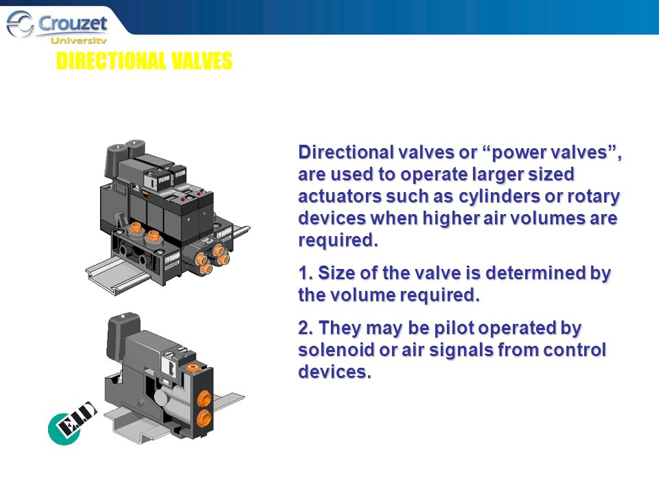 DIRECTIONAL VALVES Directional valves or power valves , are used to operate larger sized actuators such as cylinders or rotary devices when higher air volumes are required.