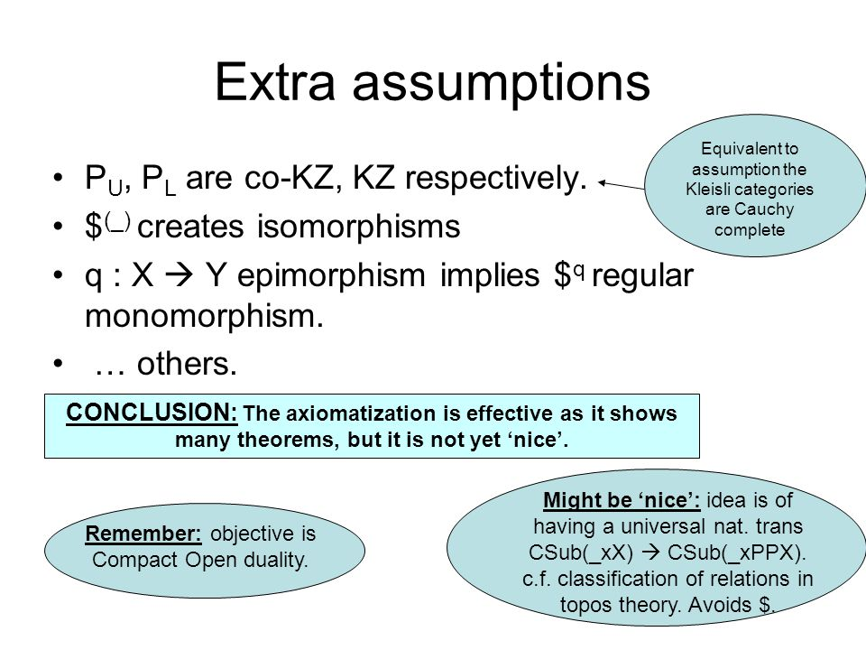 Extra assumptions P U, P L are co-KZ, KZ respectively.