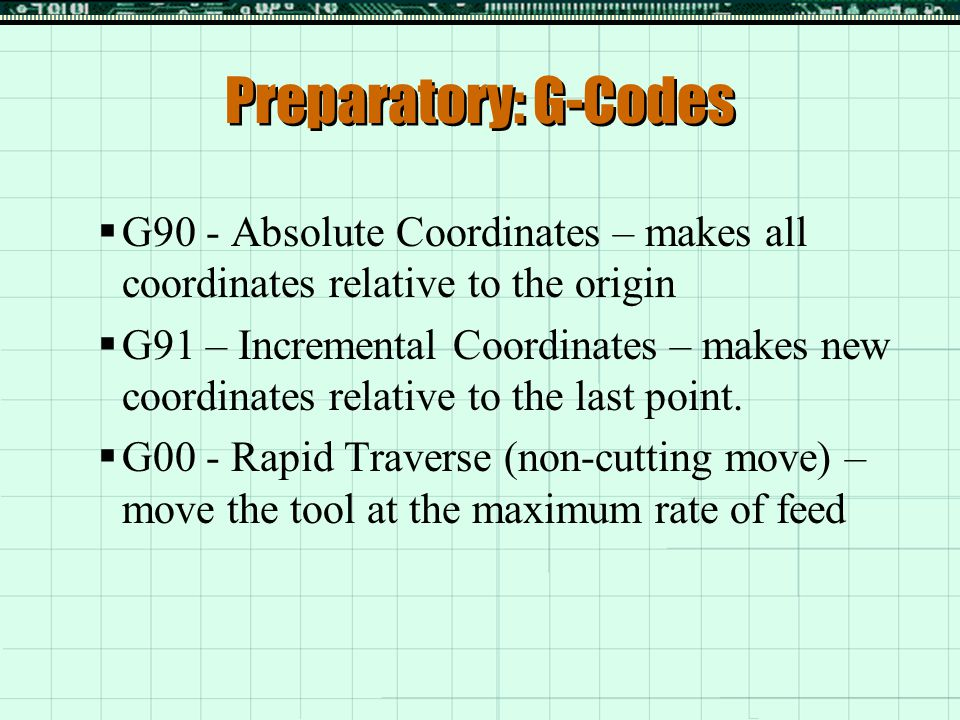 Preparatory: G-Codes  G01 - Straight Line Interpolation – move the tool in a straight line to the desired coordinates  G02 - Circular Interpolation CW – move the tool in a clockwise direction through an arc  G03 – Circular Interpolation CCW – move the tool in a counter-clockwise direction through an arc