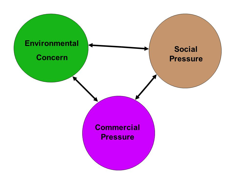 Environmental Concern Social Pressure Commercial Pressure Humanism Environmentalism Green Movement Green Selling The business of business is business Societal Marketing and CSR Environmental Marketing and Management The conventional approach to the business-society- environment inter relationship
